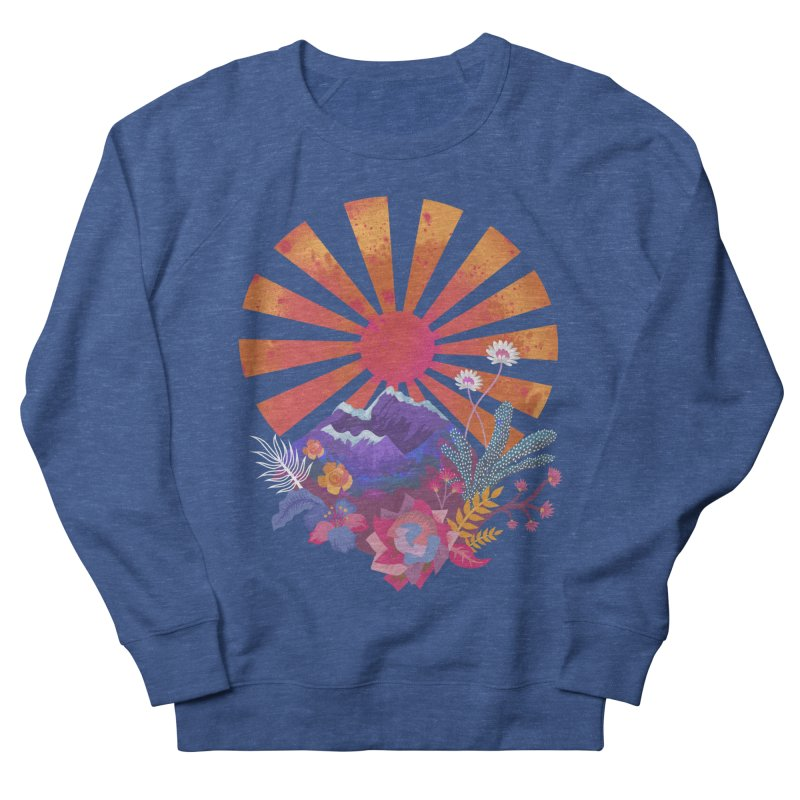 Abstract sun mountains and flowers Men's Sweatshirt by Art & design by Maria Daniela Hästö