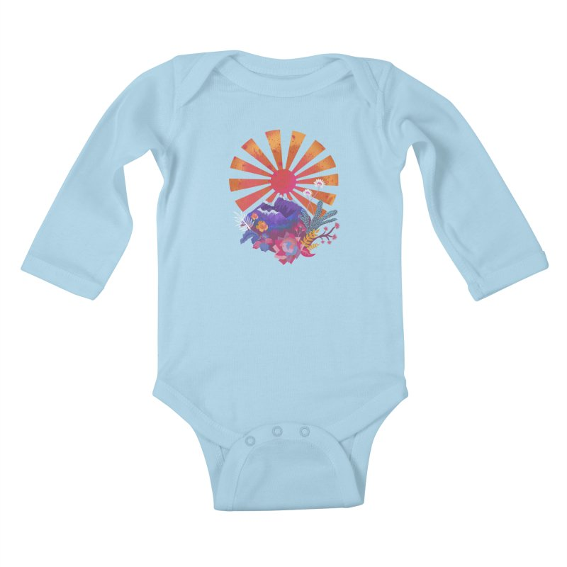 Abstract sun mountains and flowers Kids Baby Longsleeve Bodysuit by Art & design by Maria Daniela Hästö