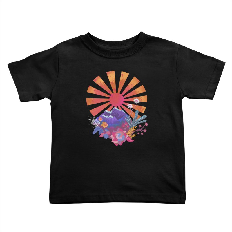 Abstract sun mountains and flowers Kids Toddler T-Shirt by Art & design by Maria Daniela Hästö