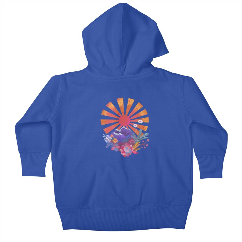 Abstract sun mountains and flowers Kids Baby Zip-Up Hoody by Art & design by Maria Daniela Hästö