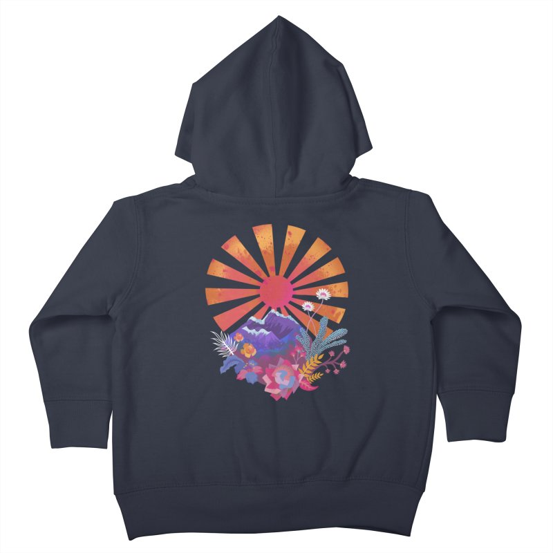Abstract sun mountains and flowers Kids Toddler Zip-Up Hoody by Art & design by Maria Daniela Hästö