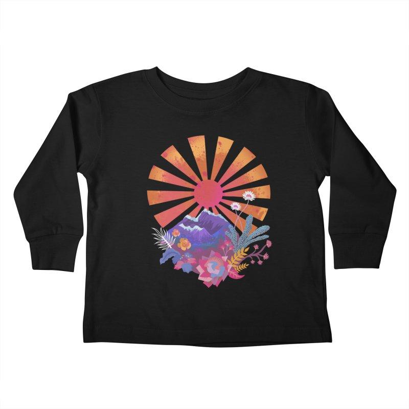 Abstract sun mountains and flowers Kids Toddler Longsleeve T-Shirt by Art & design by Maria Daniela Hästö
