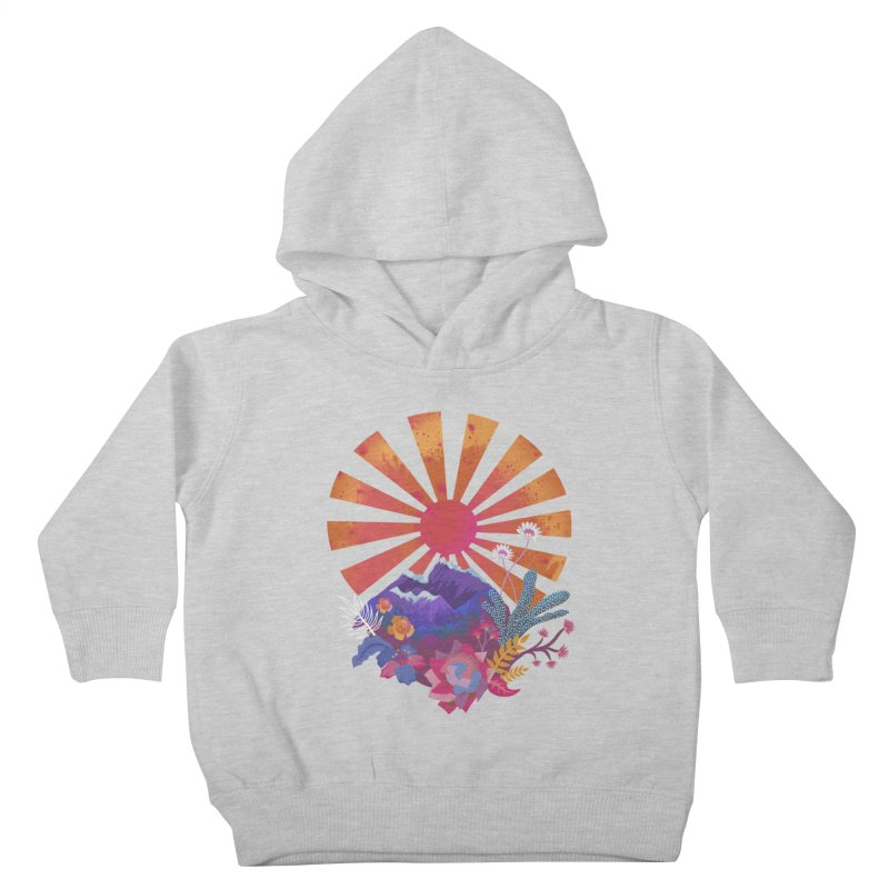 Abstract sun mountains and flowers Kids Toddler Pullover Hoody by Art & design by Maria Daniela Hästö