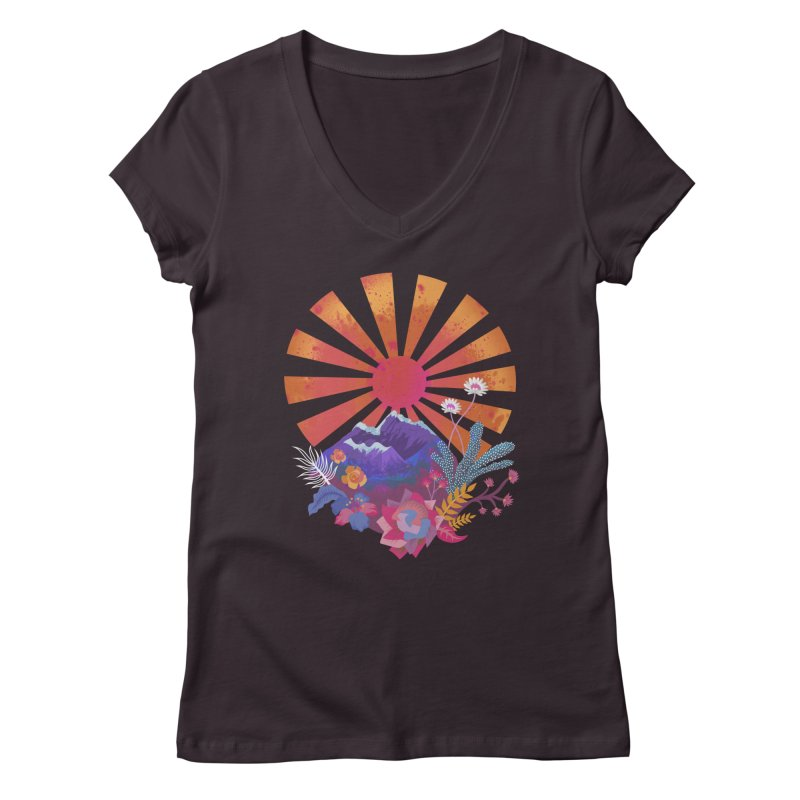 Abstract sun mountains and flowers Women's V-Neck by Art & design by Maria Daniela Hästö