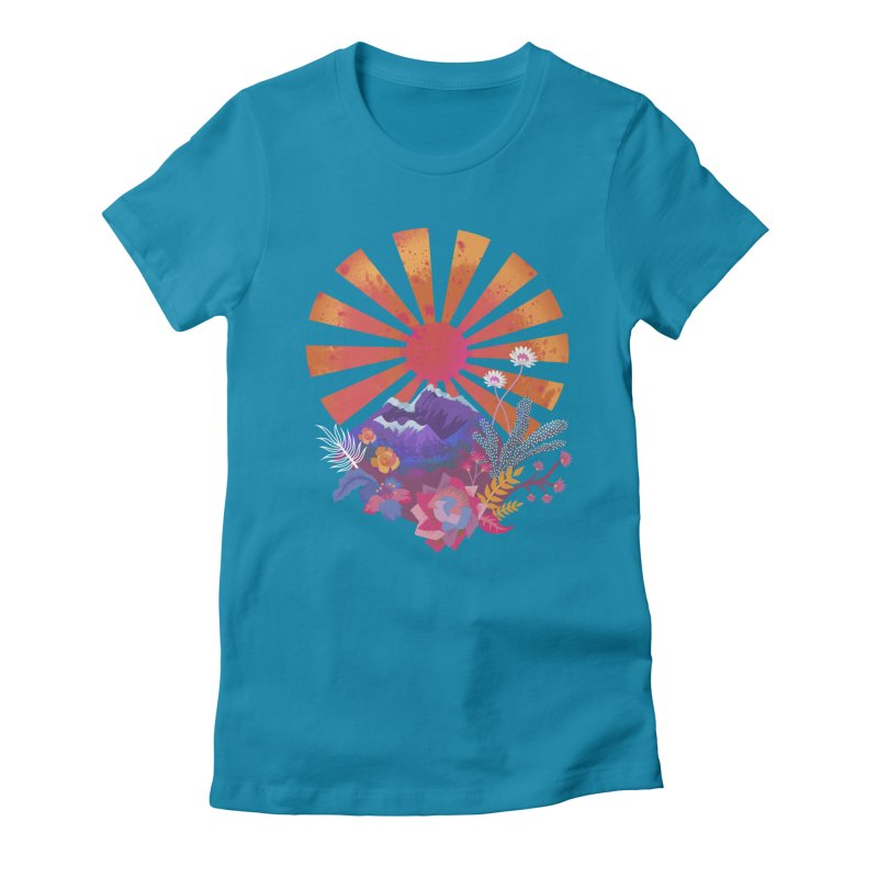 Abstract sun mountains and flowers Women's T-Shirt by Art & design by Maria Daniela Hästö