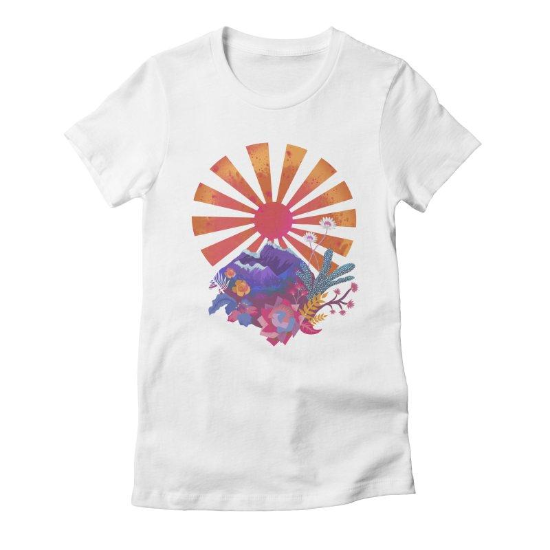 Abstract sun mountains and flowers Women's T-Shirt by Art & design by Maria Daniela Hästö