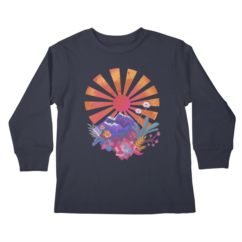 Abstract sun mountains and flowers Kids Longsleeve T-Shirt by Art & design by Maria Daniela Hästö