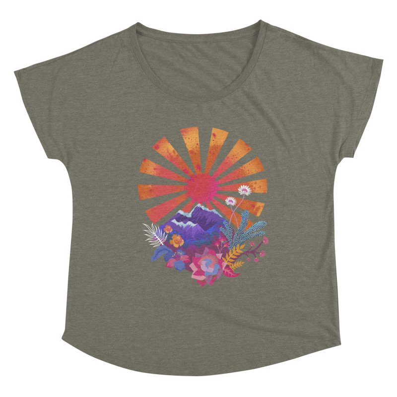 Abstract sun mountains and flowers Women's Scoop Neck by Art & design by Maria Daniela Hästö