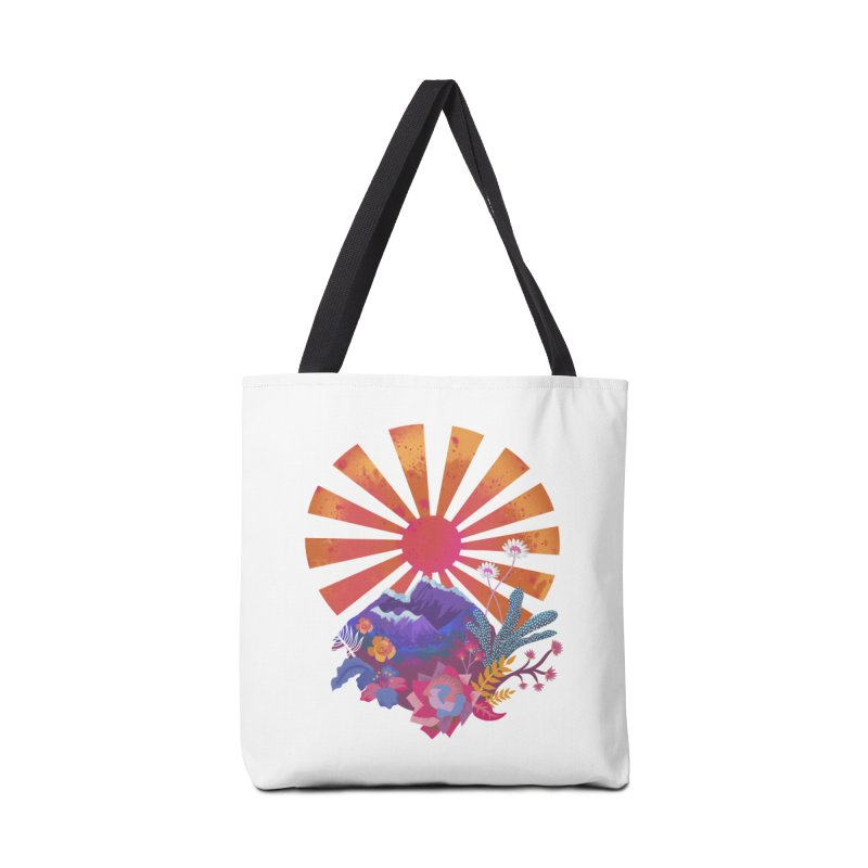 Abstract sun mountains and flowers Accessories Bag by Art & design by Maria Daniela Hästö