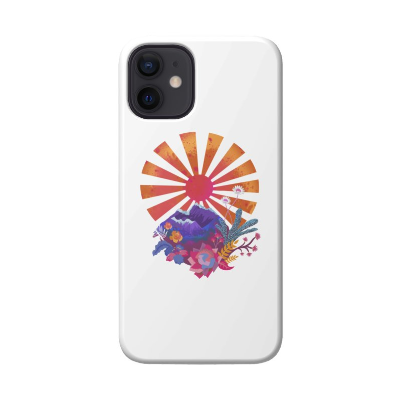 Abstract sun mountains and flowers Accessories Phone Case by Art & design by Maria Daniela Hästö