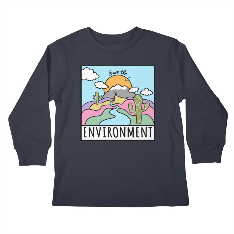 Save the environment Kids Longsleeve T-Shirt by Art & design by Maria Daniela Hästö