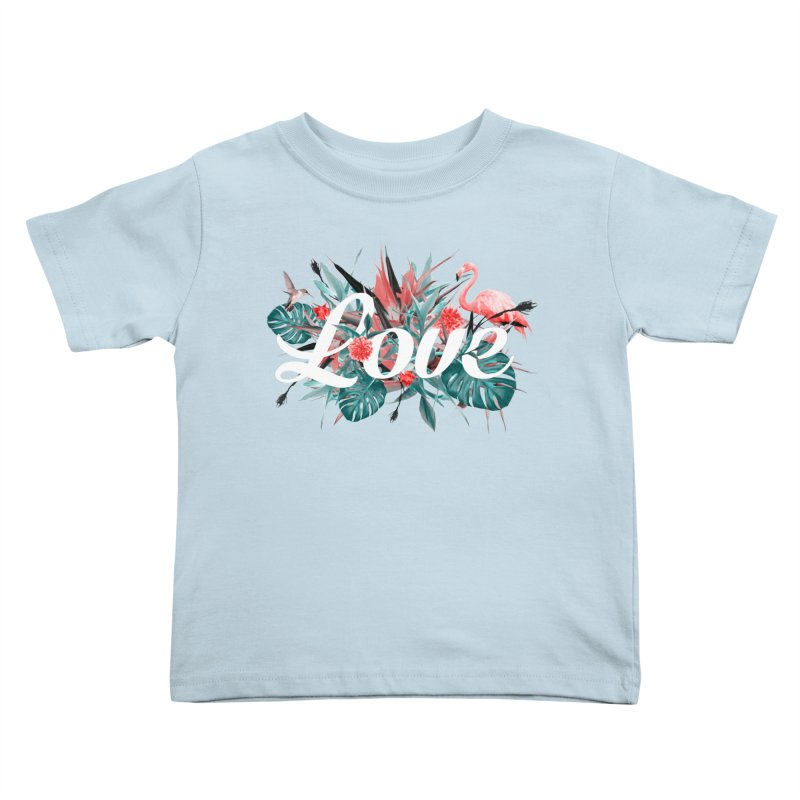 Tropical birdies - Red Kids Toddler T-Shirt by Art & design by Maria Daniela Hästö