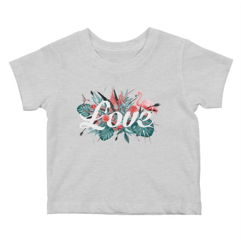 Tropical birdies - Red Kids Baby T-Shirt by Art & design by Maria Daniela Hästö