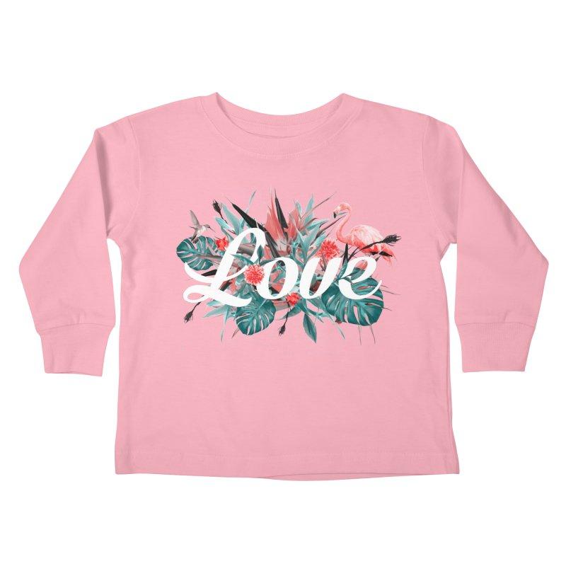 Tropical birdies - Red Kids Toddler Longsleeve T-Shirt by Art & design by Maria Daniela Hästö