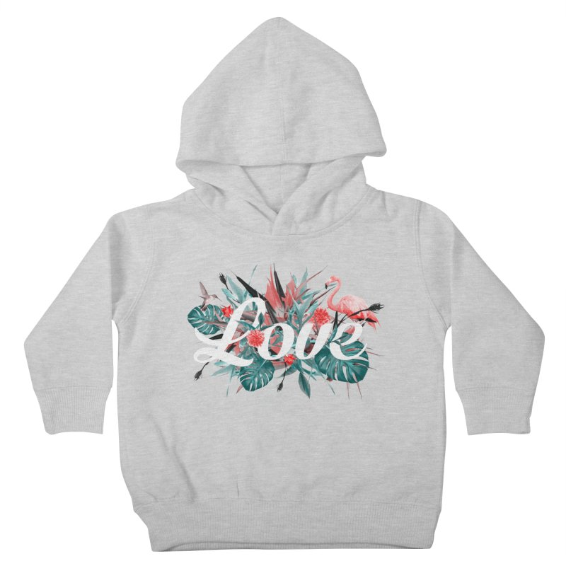 Tropical birdies - Red Kids Toddler Pullover Hoody by Art & design by Maria Daniela Hästö
