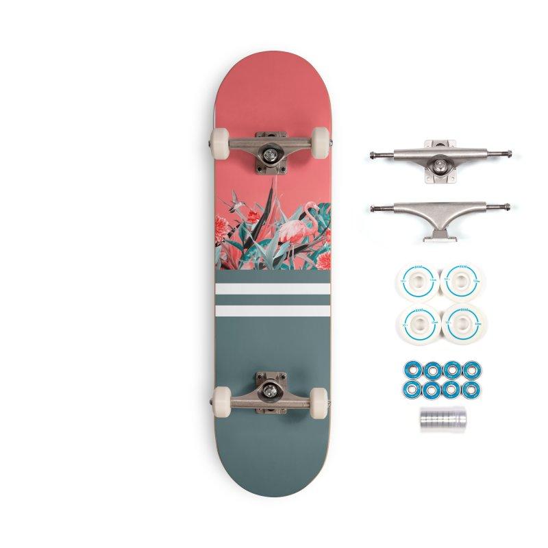 Tropical birdies - Red Accessories Skateboard by Art & design by Maria Daniela Hästö