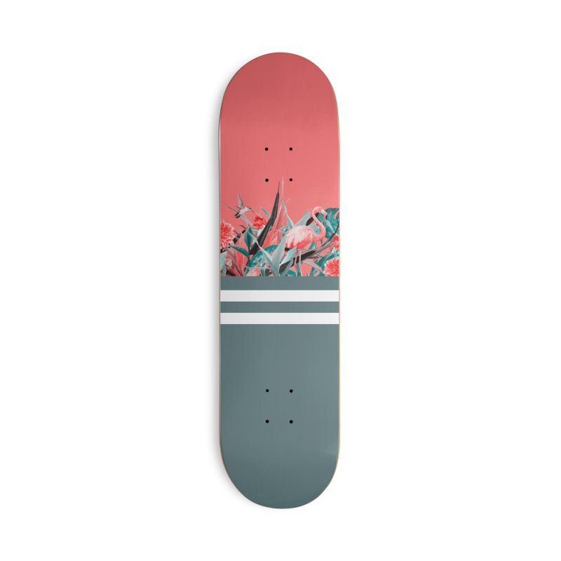 Tropical birdies - Red Accessories Skateboard by Art & design by Maria Daniela Hästö
