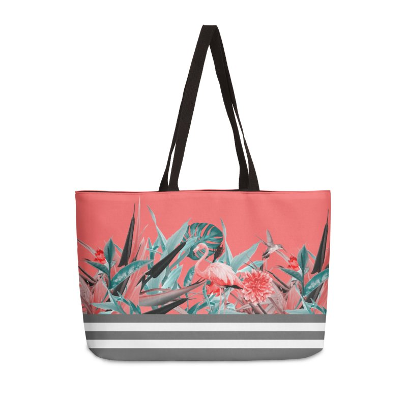 Tropical birdies - Red Accessories Bag by Art & design by Maria Daniela Hästö