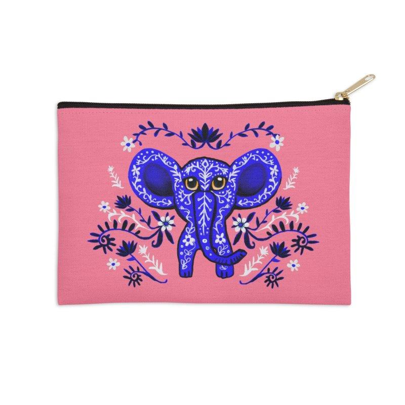 Blue elephant Accessories Zip Pouch by Art & design by Maria Daniela Hästö