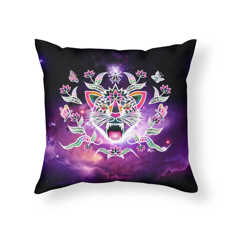 Batik space cat Home Throw Pillow by Art & design by Maria Daniela Hästö