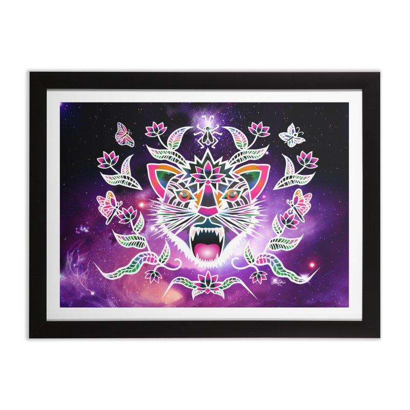 Batik space cat Home Framed Fine Art Print by Art & design by Maria Daniela Hästö