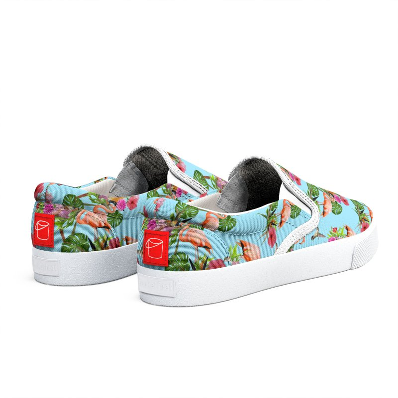Tropical flamingo - Blue Women's Shoes by Art & design by Maria Daniela Hästö