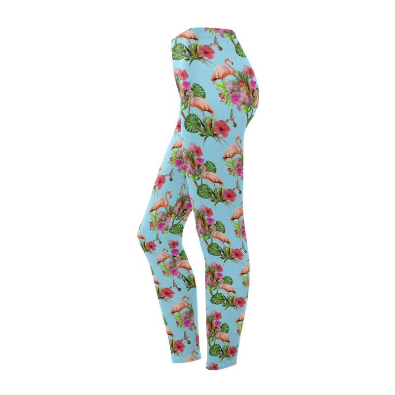 Tropical flamingo - Blue Women's Bottoms by Art & design by Maria Daniela Hästö
