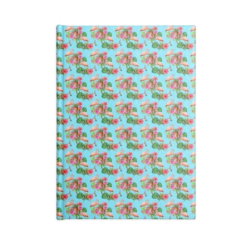 Tropical flamingo - Blue Accessories Notebook by Art & design by Maria Daniela Hästö