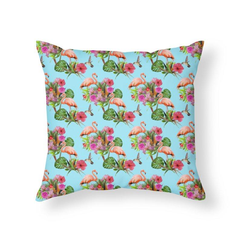 Tropical flamingo - Blue Home Throw Pillow by Art & design by Maria Daniela Hästö