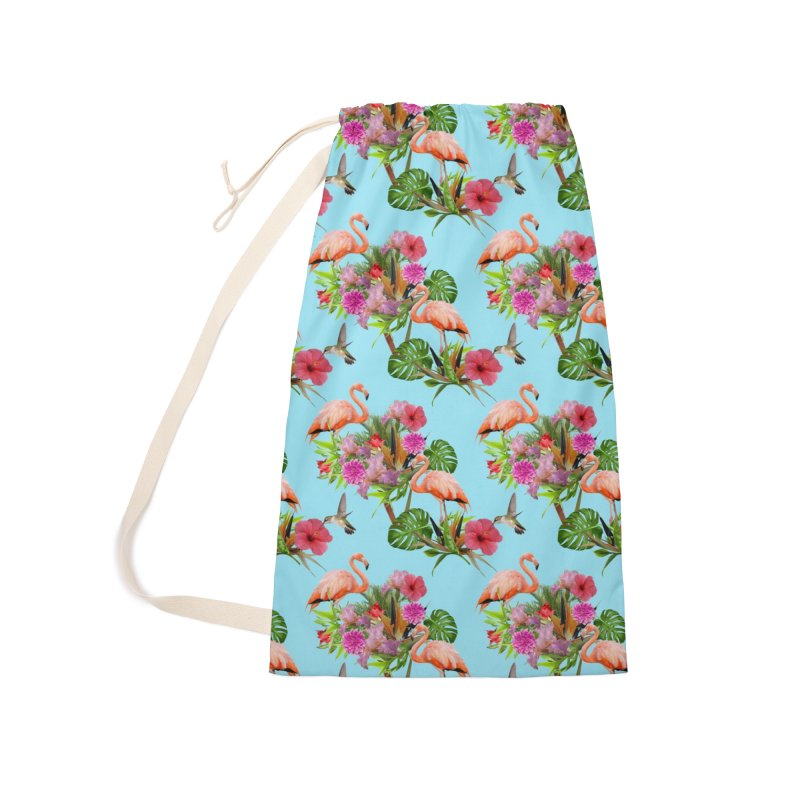 Tropical flamingo - Blue Accessories Bag by Art & design by Maria Daniela Hästö