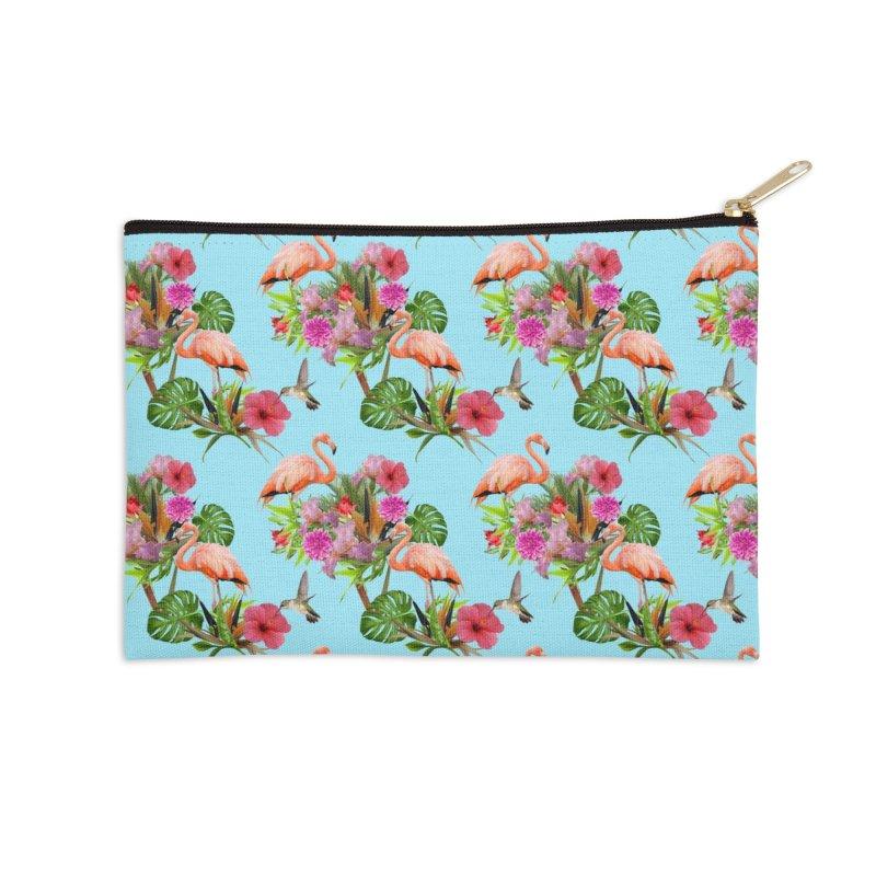 Tropical flamingo - Blue Accessories Zip Pouch by Art & design by Maria Daniela Hästö