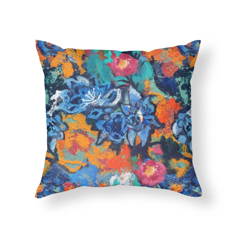 Abstract floral oilpainting Home Throw Pillow by Art & design by Maria Daniela Hästö