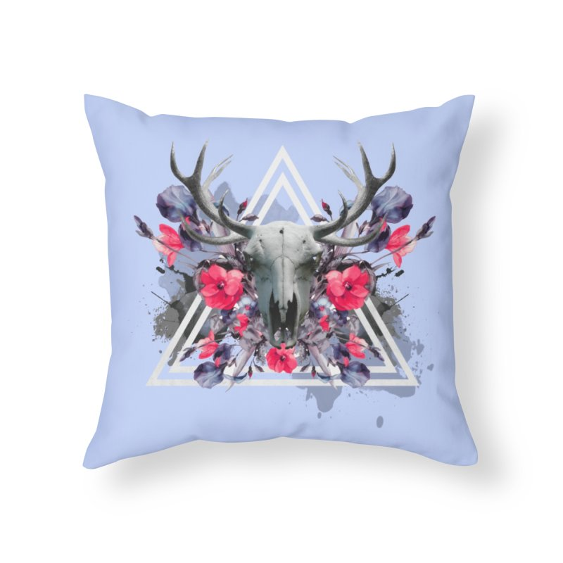 Floral deerprint Home Throw Pillow by Art & design by Maria Daniela Hästö