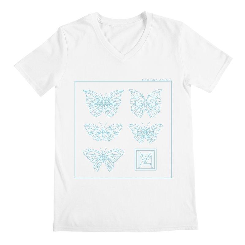 MZ Butterflies 1 Men's Regular V-Neck by M A R I A N A    Z A P A T A