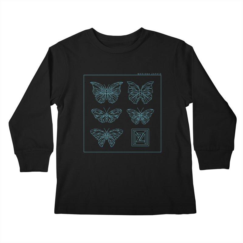 MZ Butterflies 1 Kids Longsleeve T-Shirt by M A R I A N A    Z A P A T A
