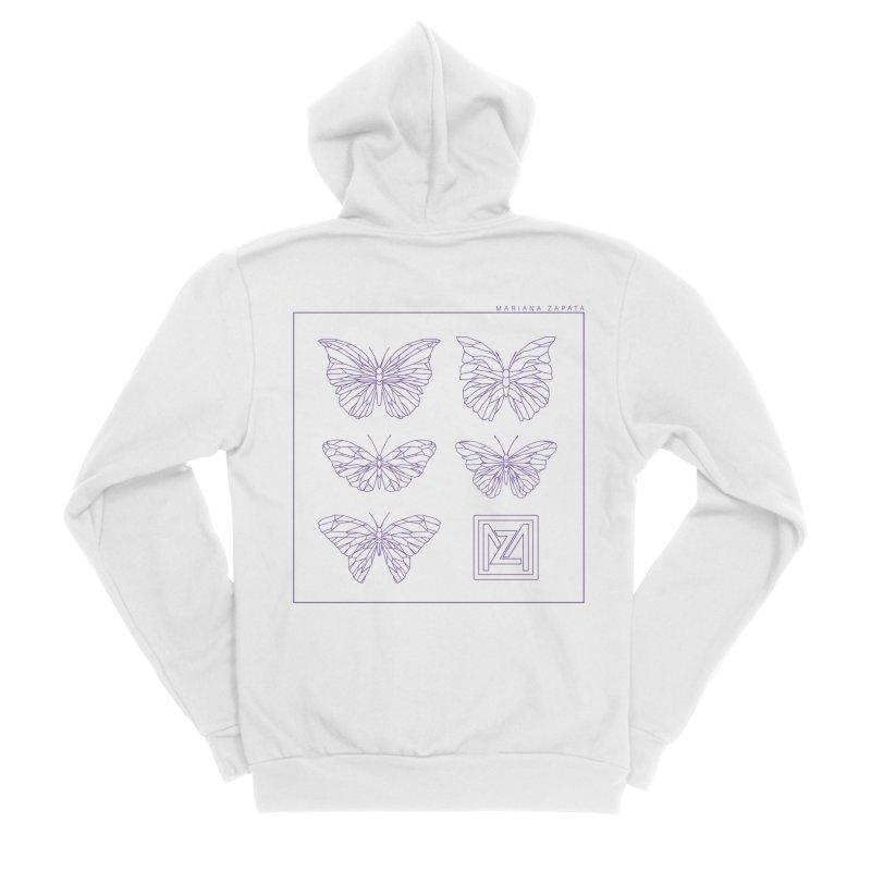 MZ Butterflies 2 Men's Sponge Fleece Zip-Up Hoody by M A R I A N A    Z A P A T A
