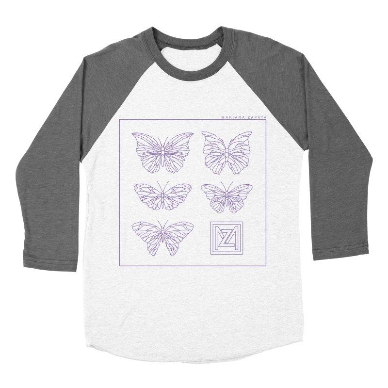 MZ Butterflies 2 Men's Baseball Triblend Longsleeve T-Shirt by M A R I A N A    Z A P A T A
