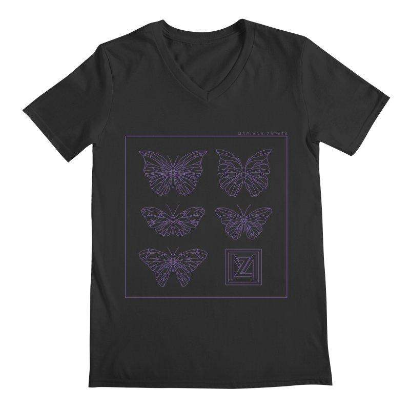 MZ Butterflies 2 Men's Regular V-Neck by M A R I A N A    Z A P A T A