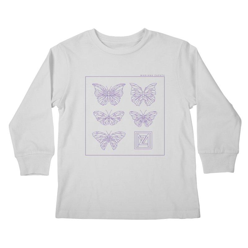 MZ Butterflies 2 Kids Longsleeve T-Shirt by M A R I A N A    Z A P A T A