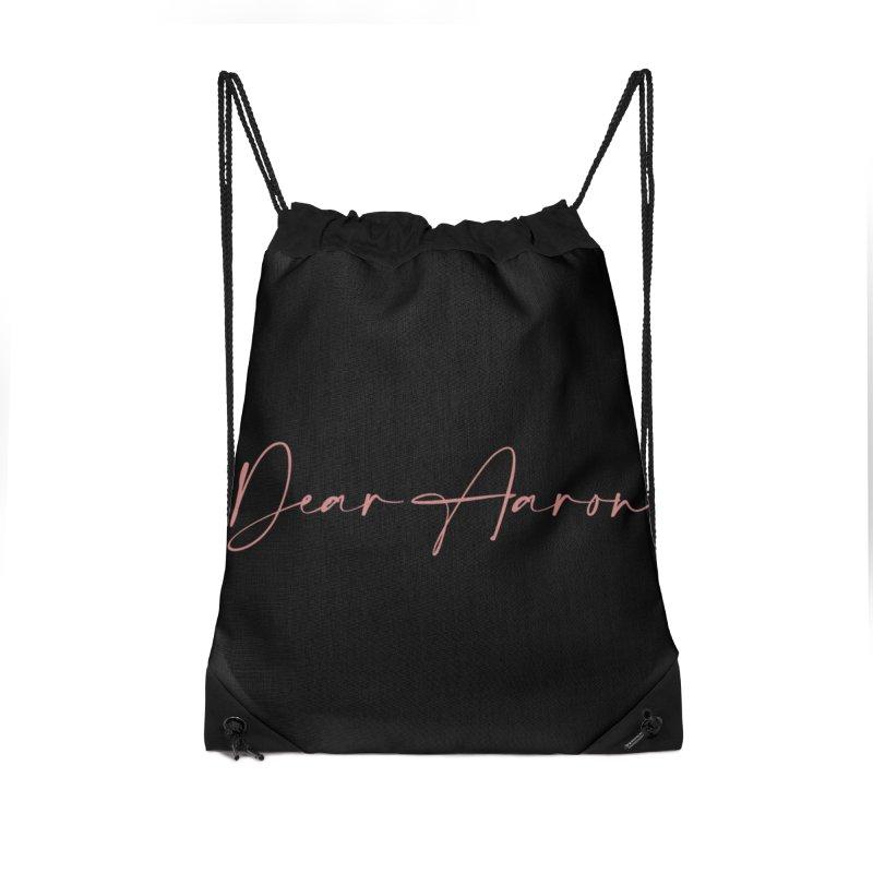 Dear Aaron (Light Color Ink) Accessories Drawstring Bag Bag by M A R I A N A    Z A P A T A