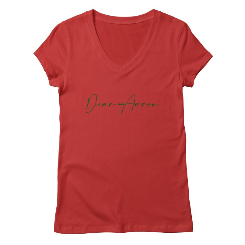 Dear Aaron (Dark Color Ink) Women's Regular V-Neck by M A R I A N A    Z A P A T A
