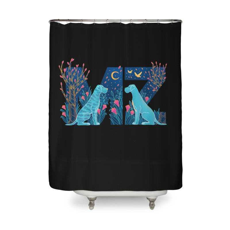 MZ Logo Home Shower Curtain by M A R I A N A    Z A P A T A