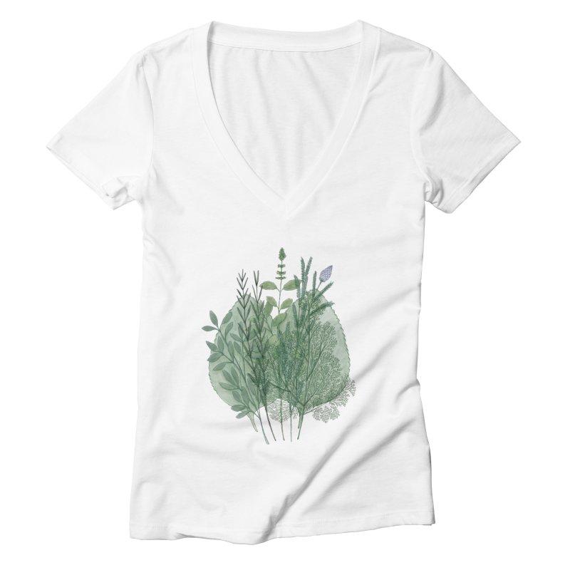 Herbs Women's V-Neck by Maria Paula