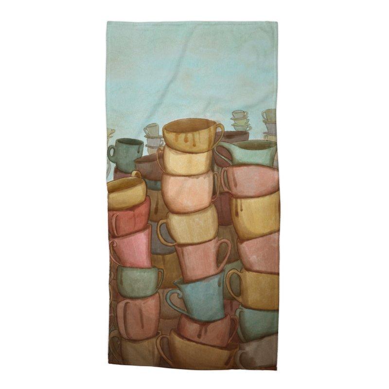 Coffee skyline Accessories Beach Towel by Maria Paula