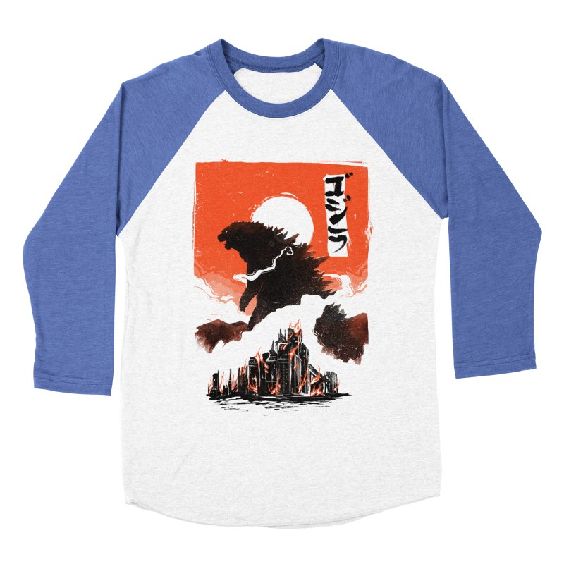 Godzilla Women's Baseball Triblend Longsleeve T-Shirt by MB's Tees