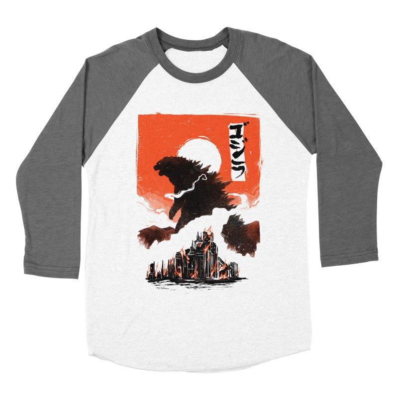 Godzilla Men's Baseball Triblend Longsleeve T-Shirt by MB's Tees