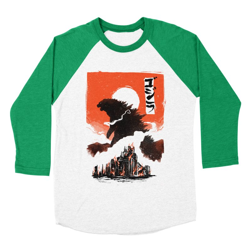 Godzilla Men's Baseball Triblend Longsleeve T-Shirt by MB's Tees
