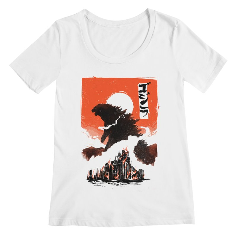 Godzilla Women's Regular Scoop Neck by MB's Tees