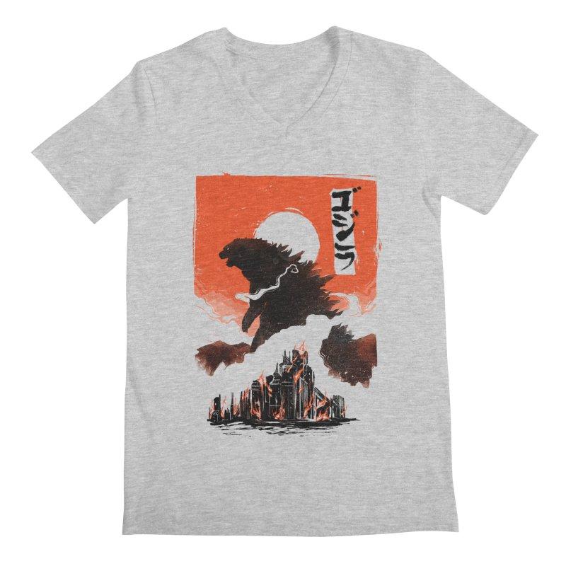 Godzilla Men's Regular V-Neck by MB's Tees