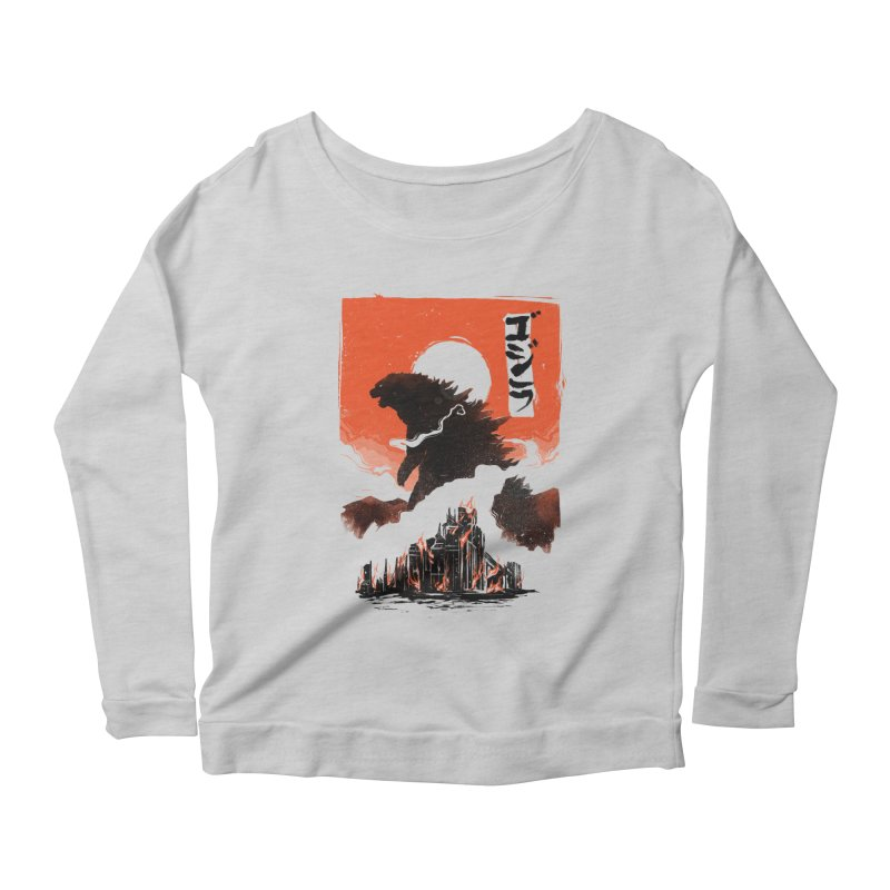 Godzilla Women's Scoop Neck Longsleeve T-Shirt by MB's Tees